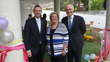 Member for Coogee Bruce Notley Smith, left, with Mayor of Waverley, Cr Sally Betts and Member for Wentworth, the Hon Malcolm Turnbull at the opening of the Mill Hill Early Education Centre located in Bondi Junction.