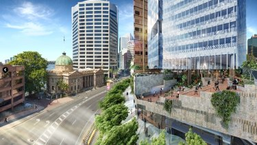 An artist's impression of the high rise public park being built at 480 Queen street.