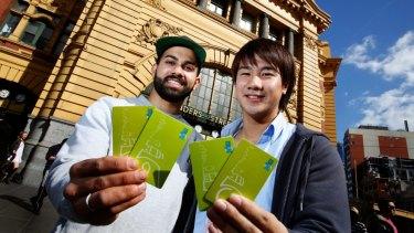 Iori Nishida and Samier Davis are renting myki cards to travellers through their Mykihire business.