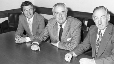 Bob Hawke, Gough Whitlam and Lionel Murphy in 1974.