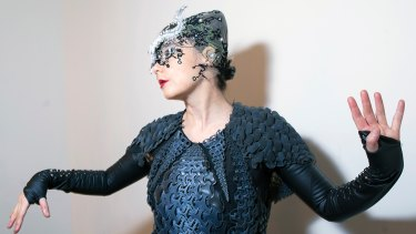 Bjork in the Pangolin dress by design collective threeASFOUR, a 3D printed dress that took 5000 hours to print.