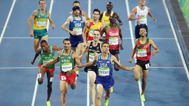 Costly mistake: Matthew Centrowitz wins the 1500m final as Ryan Gregson (back left) battles to 9th.