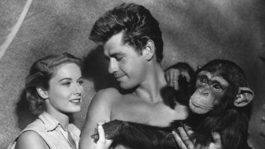 """In this photo released in 1955 by RKO, Gordon Scott, the screen's eleventh Tarzan, makes his debut as Tarzan in <i>Tarzan's Hidden Jungle</i>,"""" as he is shown in this undated photo with actress Vera Miles who plays UN nurse, and Zippy, the chimp, as Cheta."""