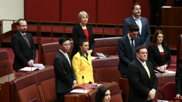 The new Senators during the swearing-in ceremony at Parliament House on Monday.