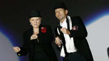 Happier times: Bishop and Abbott rehearsing for a 2007 charity fundraiser.