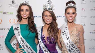 Miss World Australia 2014 Courtney Thorpe (centre) with the runners up.