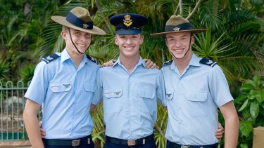 Liam Pridmore, centre, with his brothers Justin and Kyle.