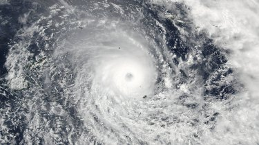 This satellite image captured Tropical Cyclone Winston in the South Pacific Ocean.