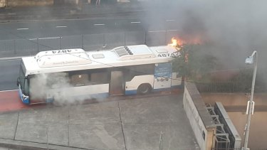 A bus caught on fire in Surry Hills on Monday on Flinders Street.