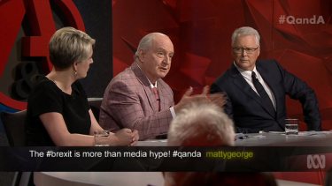 Against plebiscite ... <i>Q&A</i> panellist Alan Jones, centre, believes parliament should vote on the issue of marriage equality.