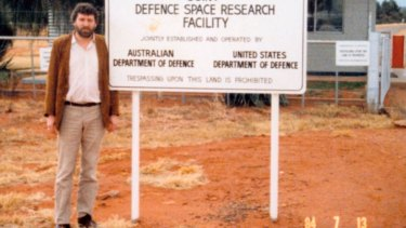 Desmond Ball at the entrance to Pine Gap in 1984.