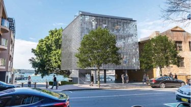 "An artist's impression of the controversial proposed ""glass box"" building."