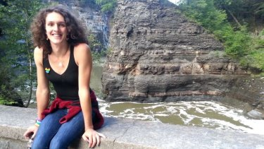 """Natalie began to """"present"""" as a woman in her early 20s, while at college in New York State.  Here she visits Letchworth State Park in New York state, September 2014."""