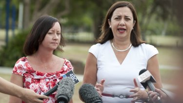"""Yvette D'Ath with Annastacia Palaszczuk says the state government's asset sale plan would create an""""Americanised economy"""" of low wages and no job security."""