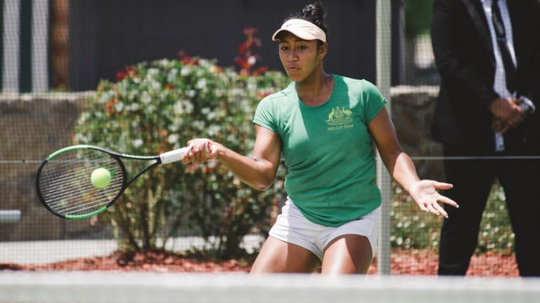 Teenage star Destanee Aiava is finding her feet in the Australian Fed Cup camp.