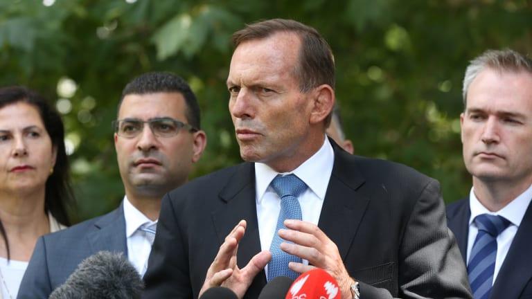 Prime Minister Tony Abbott addresses the media in Sydney on Sunday.