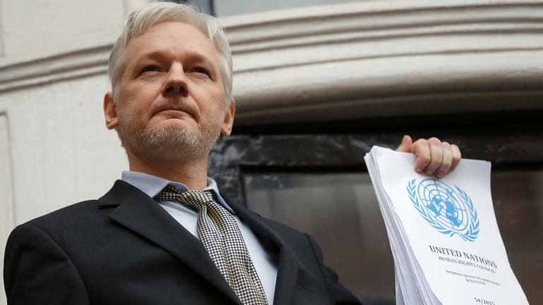 Julian Assange is confined to the Ecuadorian embassy in London.