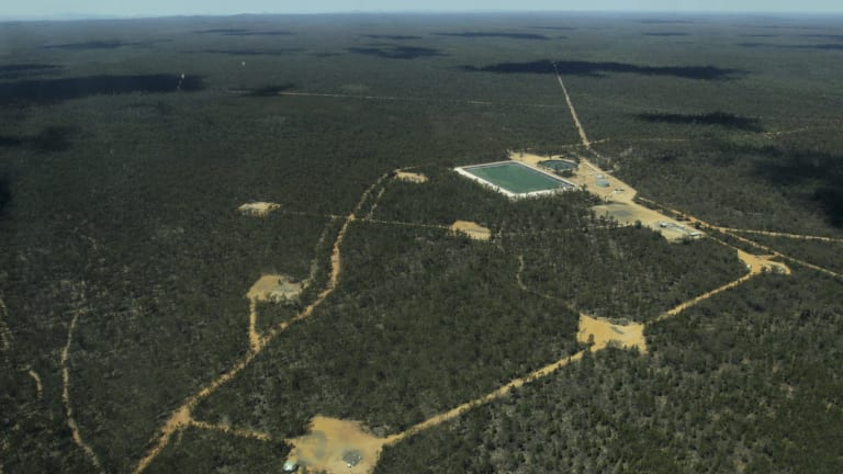 Santos' Bibblewindi CSG wastewater ponds in the Pilliga State Forest. Two-thirds of the 425 well pads are planned for the forest.