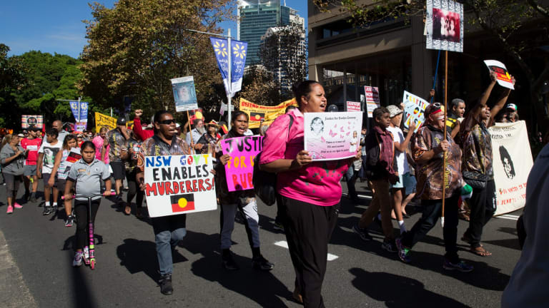Family and friends of the three Bowraville victims march to NSW Parliament House in May demanding a new trial.