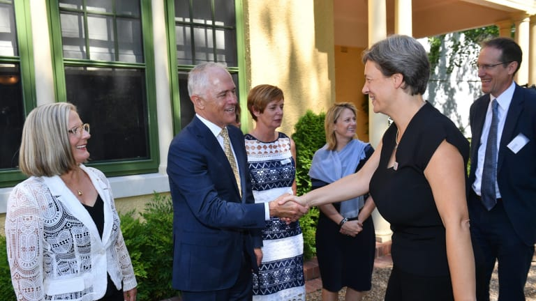 2018 Australian of the Year, Michelle Simmons, greets Prime Minister Malcolm Turnbull and Lucy Turnbull ahead of the announcement on Thursday.