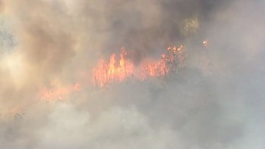 A shot of the Sunshine Coast bushfire, which was moving east.