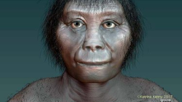 "An artist's impression of Homo floresiensis based on recent research. Dubbed a human ""hobbit"", the species of humanoid was about a metre tall and died out about 54,000 years ago."