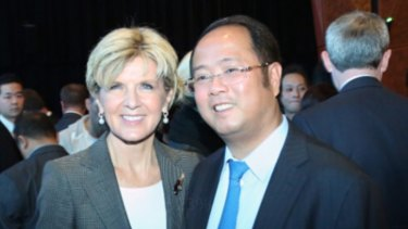 Friends in high places: Huang Xiangmo with Foreign Minister Julie Bishop.