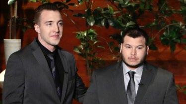 """Stephen Schuck, left, and Jesus Campos on """"The Ellen DeGeneres Show""""."""