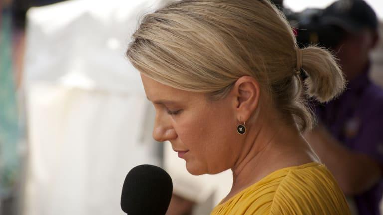 Alison Baden-Clay's friend Nicole Morrison addresses the crowd.
