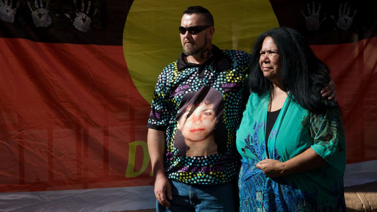 Muriel Walker-Craig, the mother of Bowraville victim Colleen Walker-Craig during a protest march to NSW Parliament House in May.