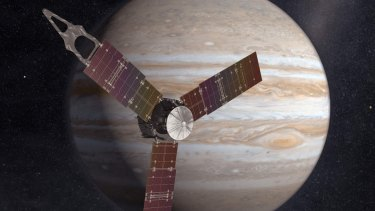 An artist's impression of Juno sweeping in front of Jupiter.