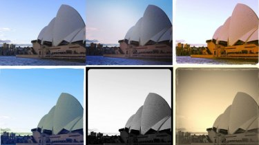 Warm filters, such as the one used in the top row on the right, increase engagement.