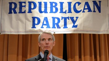 Ohio senator Rob Portman speaks at a Lincoln Day dinner in 2016. Trump's decisionmaking has shaken the faith of some Republican senators.
