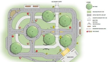 The learn to ride centres will include footpaths, roundabouts, pedestrian crossings, line markings and road signs.