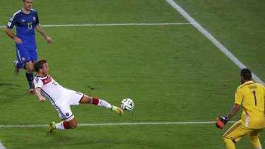 World Cup winner: Mario Goetze scores the only goal of the final.