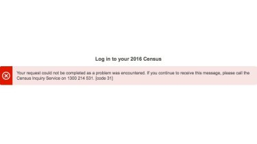 One of the error messages received by people trying to complete the census on Tuesday night.