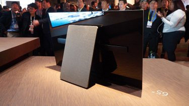 The oversized kickstand doubles as the TV's subwoofer.