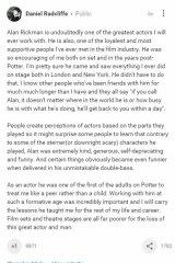 Daniel Radcliffe's Google+ post to Alan Rickman.