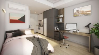 The studio apartments will be 20 square metres and feature a bed, bathroom, kitchenette and desk.