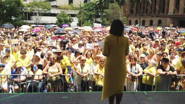 Thousands attended a Brisbane rally to protest the downgrading of the murder conviction.