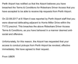 The letter from Perth Airport to the Uber driver.