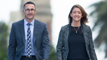 Greens leader Richard Di Natale and candidate for Melbourne Ports Stephanie Hodgins-May.
