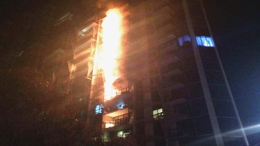 The apartment building fire in Docklands in 2014.