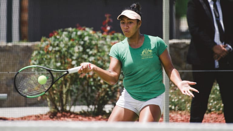 Destanee Aiava practises in Canberra on Monday.