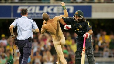 Streaking: it could almost be considered an Aussie tradition, but Andrew Symonds didn't take too kindly to it when he was at bat in 2008.