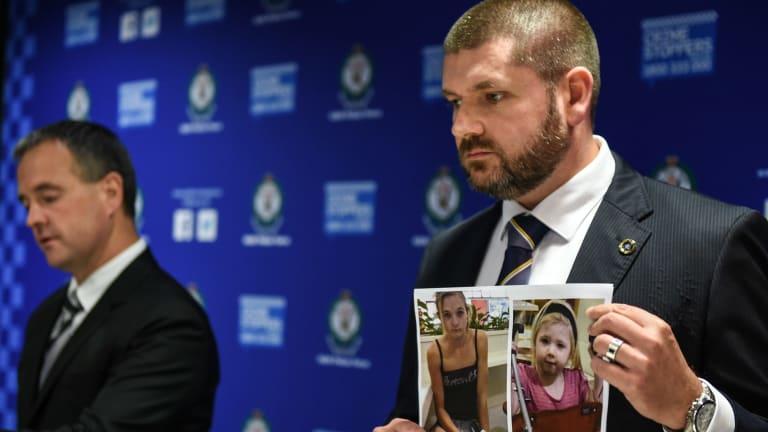 NSW investigators show a photo of Karlie Jade Pearce-Stevenson and her daughter Khandalyce Kiara Pearce.