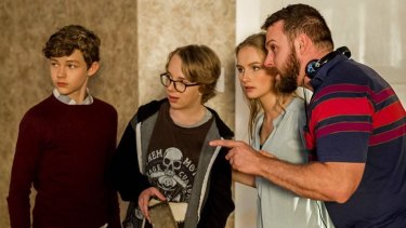Chris Peckover directs his young cast, Miller, Ed Oxenbould, and De Jonge.