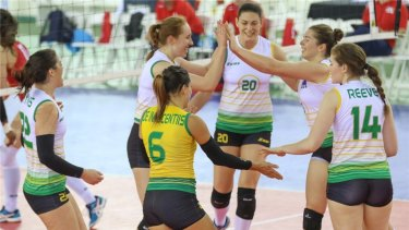 The Australian Volleyroos celebrate at the World Grand Prix.