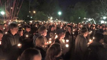 As many as 300 people came out for the touching tribute to 18-year-old Aaron Pajich.