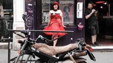 Alison Bunting in burlesque outside La Feline bar in Paris.